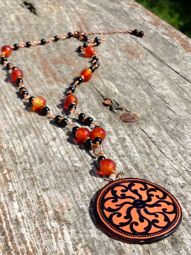 Greek Vase mandala necklace